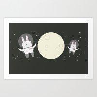 Astro Bunnies Art Print