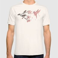 Blossom Bird  Mens Fitted Tee Natural X-LARGE