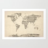 Old Sheet Music World Ma… Art Print