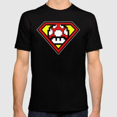 Super Mushroom Mens Fitted Tee Black SMALL
