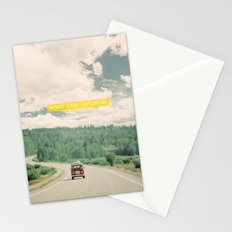 NEVER STOP EXPLORING - vintage volkswagen van Stationery Cards