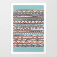 Tribal #4 (Coral/Aqua) Art Print