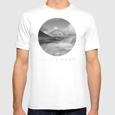 Life Is A Journey (Black & White) SMALL White Mens Fitted Tee