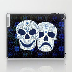 Comedy-Tragedy Sugar Skulls Cyan Laptop & iPad Skin