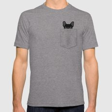 Pocket French Bulldog - Black Mens Fitted Tee Tri-Grey SMALL