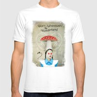 Alice In Wonderland Mens Fitted Tee White SMALL