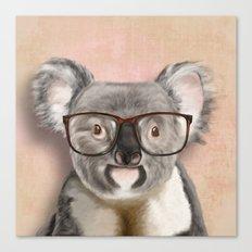 Funny koala with glasses Canvas Print