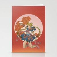 Samurai Moon Stationery Cards