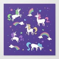 Unicorns and Rainbows - Purple Canvas Print