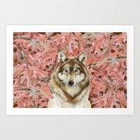 Wolf_leaves Art Print