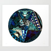 Blue Toned Pentagram Art Print