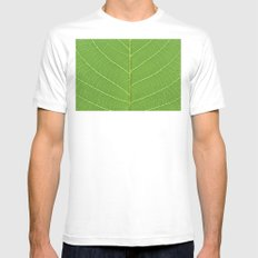 green leaf texture SMALL White Mens Fitted Tee
