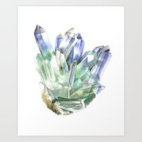 Fuschite with Quartz Cluster Art Print