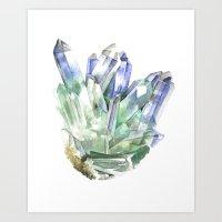 Fuschite with Quartz Cluster Art Print