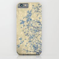 Vintage Duotone Indigo Blue and Cream Spring Dogwood Branches iPhone 6 Slim Case
