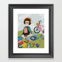 Listening To Old Records Framed Art Print