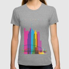 Shapes of Pittsburgh. Accurate to scale Womens Fitted Tee Tri-Grey SMALL