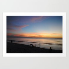 Playing in the sunset Art Print