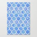 Cornflower Blue Moroccan Hand Painted Watercolor Pattern Canvas Print