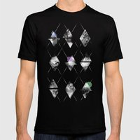 Space Argyle Mens Fitted Tee Black SMALL