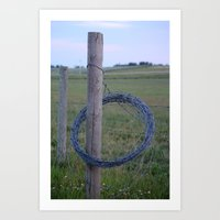 barbed wire fence Art Print