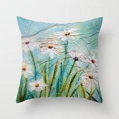 Little white daisies Throw Pillow