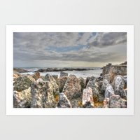 Sunset at shore Art Print