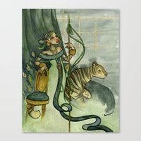 Woman With Tiger And Cha… Canvas Print