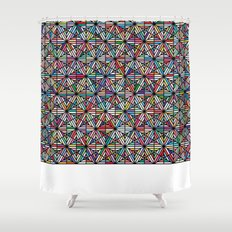 Cuben Offset Geometric Art Print. Shower Curtain