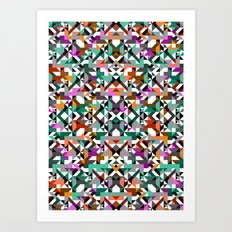 Aztec Geometric Reflection I Art Print