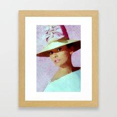 Audrey Hepburn Watercolour Portrait with hat Framed Art Print