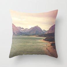 Retro Mountain Lake Throw Pillow