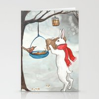 Filling The Bird Feeder Stationery Cards