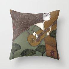 The Guitar Player Throw Pillow