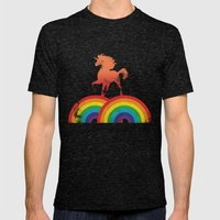 Double Rainbow Mens Fitted Tee Tri-Black SMALL