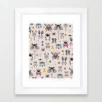 Creepy scorpion spiders and insect illustration quirky bugs creature pattern Framed Art Print
