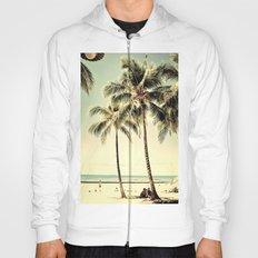 Retro Vintage Palm Tree with Hawaii Summer Sea Beach Hoody
