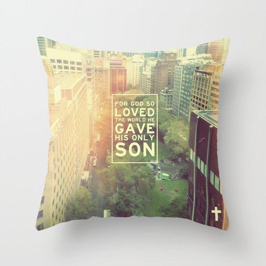 """John 3:16 """"For God so loved the world"""" (Version 2) Throw Pillow"""