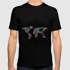 World map Mens Fitted Tee Black SMALL