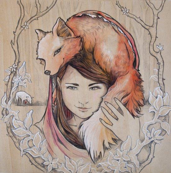 Safe in My Red Riding Hood, Balsa Art Print