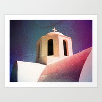 Greek Building Burnt Art Print