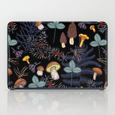 dark wild forest mushrooms iPad Case