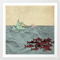 Paper Cranes Art Print