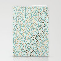 winter Stationery Cards featuring Berry Branches – Turquoise & Gold by Cat Coquillette