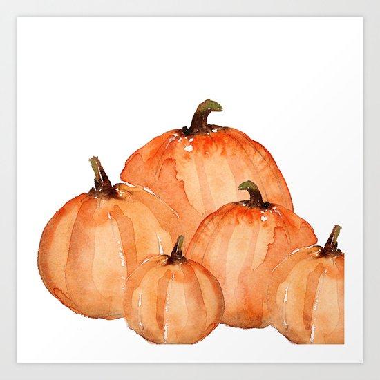 Orange Pumpkin Patch Art Print By Craftberrybush Society6