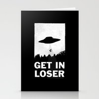 alien Stationery Cards featuring Get In Loser by moop