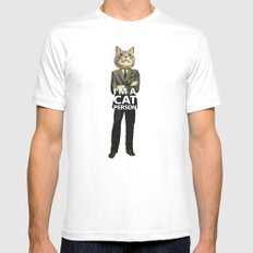 Cat Person White SMALL Mens Fitted Tee