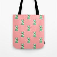 Crazy Cat (Green/Red) Tote Bag