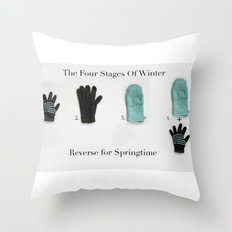 The Four Stages Of Winter Throw Pillow