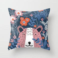 Bear Garden Throw Pillow